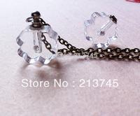 Freeshipping!! polygonal transparent  Glass RICE  Vial Pendants Jewelry Pendant Miniature Perfume vial bottle SC6303