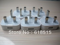 white UK Plug AC Wall Power Adapter Charger for iPhone 4 4G for ipod , EMS free shipping 50pcs
