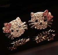 Free shipping  10pairs Wholesale  flovly hello kitty earring studs all rhinestone kt earrings for girls