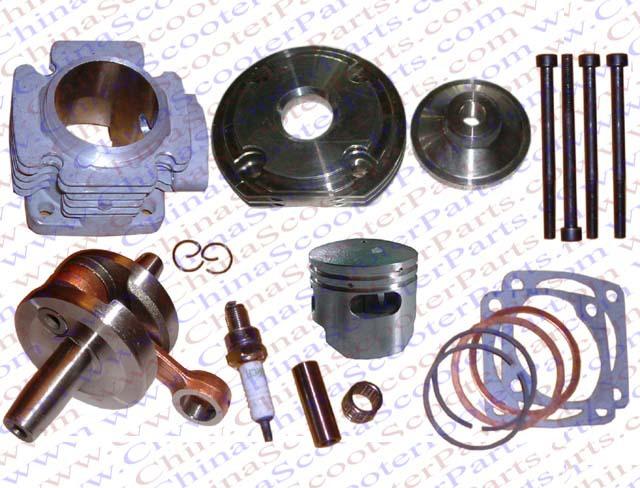 Performance Cylinder Head Piston Ring Crankshaft Kit (Big Bore Kit) for 47CC 49CC Mini Dirt Pit Bike Parts(China (Mainland))