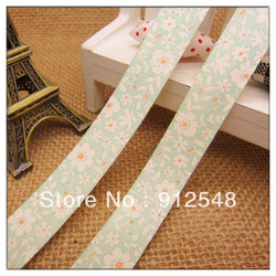 Free shipping green flower ribbon 100% cotton ribbon ancient ways cursive script notes tower 15mmx10yards,md016(China (Mainland))