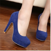 Free Shipping BLACK BLUE RED Bride Wedding Shoe Vogue Sexy NEW Womens Shoes Pumps Chunky High Heels