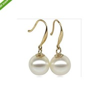 huge 11-12mm AAA Grade white Akoya Pearls Earrings 14k Free Shipping
