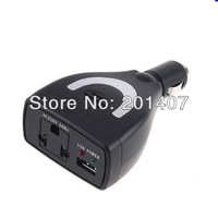 Brand  New Car inverter charger Power adapter 75W Car Power Inverter Charger DC 12V to AC 220V USB 5V,free shippinrg Wholesale