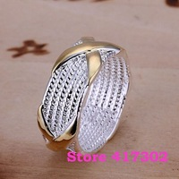 R013 SIZE 6-10# Dichroic X Ring 925 silver ring Fashion jewelry wedding rings /kfca swla