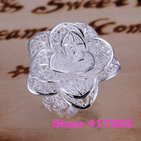 R116 SIZE 8# Three flower ring 925 silver ring Fashion jewelry wedding rings /kifa szoa