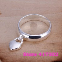 R133 SIZE 8# Hanging heart lock ring 925 silver ring Fashion jewelry wedding rings /kiva taea