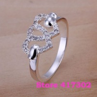 R125 SIZE 8# Heart to Heart Ring 925 silver ring Fashion jewelry wedding rings /kina szwa