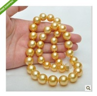 "AAA+ 14K GOLD 18""10-11MM beautiful SOUTH SEA GOLD PEARL NECKLACE free gift box"