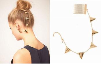Fashion Punk Hair Accessories Triangle Chains Charm Hairpins Ear Cuff Hair Combs SF059