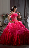 On Sale Free Shipping Ball Gown Scalloped Applique Crystal Organza Flower Ruched Floor-Length Quinceanera Dress Vestido De Festa