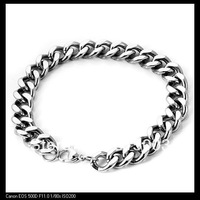 Free Shipping! 10mm Simple elegant New pattern Silver  Stainless Steel Charm Men's Bracelet SS--079