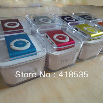 Free shipping! NEW MINI Clip MP3 Player with card slot Support 8GB- 2GB Micro TF card+usb cable+earphone in  box+5sets