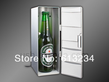 Free shipping! Mini USB PC Fridge Refrigerator Beverage Drink bottle/ two can height Cooler/Warmer Gadget Beverage Drop Shipping
