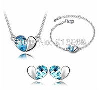 valentine's day gift for lover blue fashion jewelry set crystal bracelet hot sale ear studs cheap 3pcs jewelry set