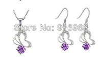 high quality fine jewelry set free shipping mix 4set/lot crystal dangle earring new rhinestone necklace