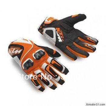 KTM Racetech leather gloves orange motorcycle motorbike motorcross ATV OFFROAD gloves