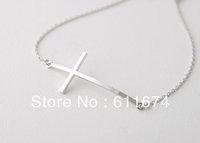 silver Sideways Cross Bracelet - silver Filled