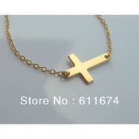 Sideways Cross Necklace Silver Plated