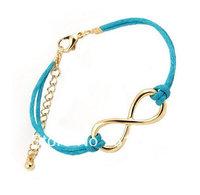 Sideways Infinity Bracelet - Blue Vevlet String