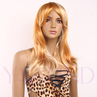 Gold Blone Lolita Style Wavy Curly Ramp Bangs Medium Full Synthetic Wig Cap