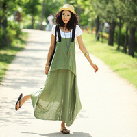 Linen long design suspenders one-piece dress spaghetti strap full dress plus size slim fluid 3304