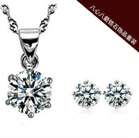 high quality cheap zircon jewelry set fine crystal necklace ear studs free shipping 5sets/lot wholesale store