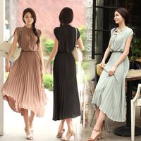 On Sale!! Summer Maxi Dress 2013 New Fashion Women Long Maxi dresses Korean Pleated Bohemian Dress For Ladies Black/khaki/Blue