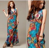 Free Shipping Paint Maxi Dress for Women Halter-neck 2013 Summer Women Long Maxi Dress Bule Sexy Boho Maxi Dresses