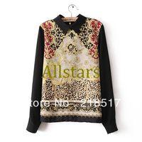 Free Shipping fashion womens' elegant vintage Floral Totem print Blouse designer shirts Peter Pan collar casual slim OL shirt