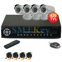 4CH Realtime Network DVR Security kit 4pcs 420TVL Outdoor IR Waterproof Camera CCTV Video System Kit