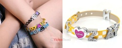 New Fashion Handmade 6pcs I LOVE ZAYN Letter Rhienstone Yellow Leather wristband bracelet 191006(China (Mainland))