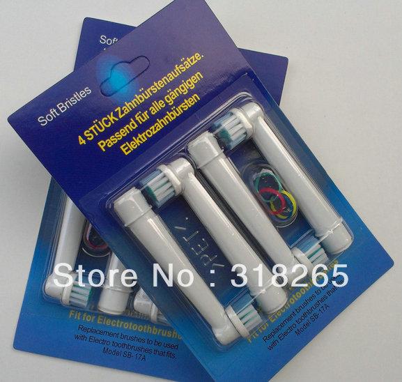 Libero shipping+factory price+wholesale 4000 pezzi, setole morbide, testa spazzolino da denti elettrico con neutro pacchetto di 1pack=4pcs) SB- 17a