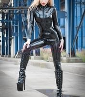 latex black bodysuit sexy garment latex catsuit for woamn