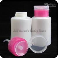 2PCS Pink Nail Art Pump Dispenser Polish Remover Cleaner Empty Bottle Refillable Bottles 150ml Drop