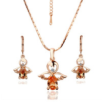 18K Gold Plated Health Wedding Jewelry Sets Free Shipping Quality Guaranteed Rhinestone Made with Austrian Crystal S044