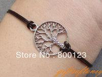 Karma Bracelet-Antique Silver Tree of Life Bracelet, Infinity Hope Bracelet, Branch bracelet & Leather Rope