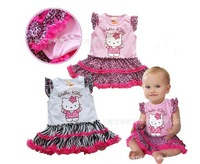 Free Shipping Girls Zebra and Leopard dress/Hello Kitty dress Sleeved Baby Girl's pink and white Rompers 3pcs/lot