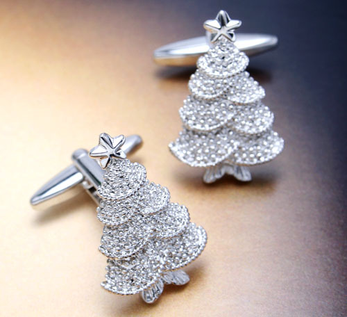 Free shipping 5pairs/lot Christmas tree christmas , silver christmas tree style cufflinks French shirt sleeve mc-276(China (Mainland))