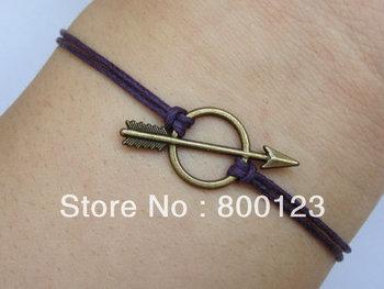 SALES-,Antique Bronze Arrow Bracelet, Arrow Purple Wax Cords Bracelet-J005