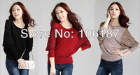 Ladies Batwing Round Neck Knitted Pullover Jumper Casual Loose Long Sweater female
