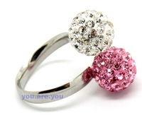 Free Shipping Shamballa  Crystal Disco Ball Adjustable Rings ,pink&clear  color