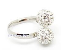 Free Shipping  Shamballa Finger Toe Ring Crystal  Disco Ball Adjustable Rings 10mm,clear color