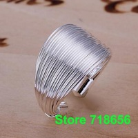 R018 SIZE 8# Multi-line ring - opening 925 silver ring Fashion jewelry wedding rings