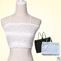 Gauze double layer flower spaghetti strap tube top cutout translucent sexy halter-neck tube top bra underwear long design female