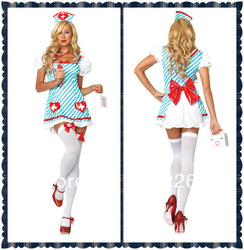 Women`s Fashion Clothes Blue Nurse Costume Dresses Halloween Sexy Lingerie Clubwear H26(China (Mainland))