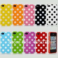 Hot Lovely Polka Dots TPU Soft Silicone Case Cover Skin For iPhone 4 4S 4G