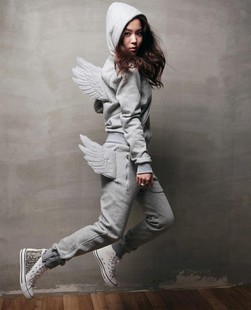 free shipping wholesale 2013 spring with a hood wings sweatshirt casual sports set thickening spring flying wing