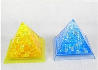 Free Shipping 3D Crystal Pyramid Puzzle Toy Flash Gift Education Toys Children Best Gift 7.5CM*7.5CM