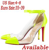Free shipping 2013 Women's Fashion Sexy Red Bottom Stiletto Hgih Heels 4cm Platform 14cm High Heel Buckle Ladies Pumps